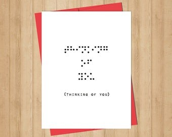 Braille Thinking of You Card - Instant Download - Printable - Greeting Card - Braille Card