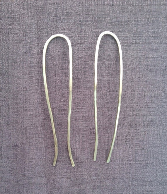 U shaped hair stick silver pin gauge thick forged