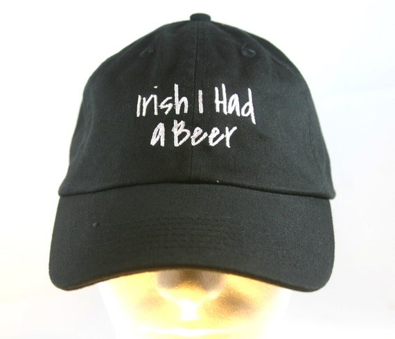Irish I had a Beer - Polo Style Ball Cap (Black with White Stitching)