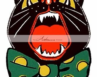 Instant Download Printable Art - Black Cat Howl Scaredy Cat Halloween Vintage Antique Art Image - Paper Crafts Altered Art Scrapbooking