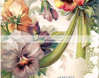 Flowers Pansies Antique Victorian Postcard - Digital Download Printable - Paper Crafts Scrapbook Altered Art - Congratulations Purple Green
