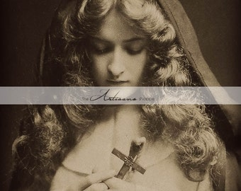 Printable Art Download - Maude Fealy with Cross Antique Portrait Photography - Paper Crafts Altered Art Scrapbook - Vintage Photograph Art