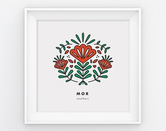 Mother, Mor, square print, Scandinavian, Mothers day, 8x8, Wall art, Norwegian, folk art