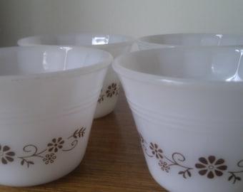 Four retro small milk glass dessert bowls