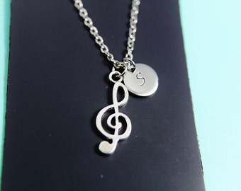 Music Gift, Treble Clef Necklace, Treble Clef Charm, Music note Charm, Personalized Necklace, Initial Charm, Initial Necklace