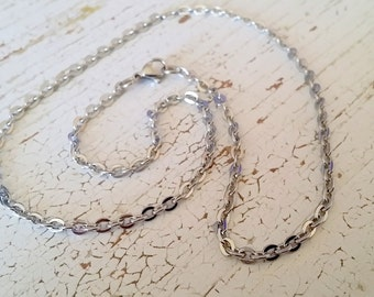 Ready to Wear Stainless Steel Flat Cable Chain Necklace