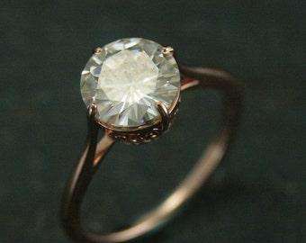Rose Gold Filigree Engagement Ring--14K Rose Gold Engagement Ring--NSEW Prong Setting--Antique Style Engagement Ring--Vintage Style Ring