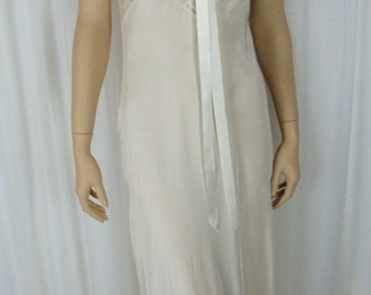 Radelle Lingerie - Lacy White Bias Cut Night Gown - silky Bur-Mil Fabric - 32