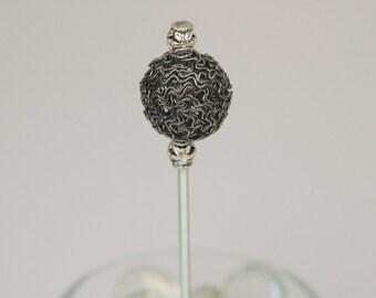 Silver Wire-Bead Roach Clip #0003