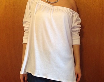 High Low Gathered Off the Shoulder Long Sleeve Top / High Low Tunic / Off the Shoulder Tunic / Oversized Tunic / Off the Shoulder / Tunic
