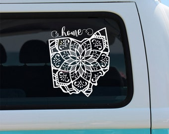 Ohio State Mandala Vinyl Decal Sticker - Car Decal - Mandala Decal - State Car Decal - Ohio - Ohio Mandala Decal - Mandala - Vinyl Decal