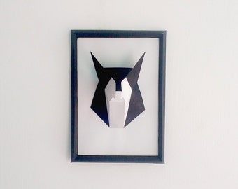 DIY Paper Fox Frame,wolf, Papercrafts,Handmade,3d Model, Wall decor,Wall art, Art and decor,Creative decoration,Paper toys,Printables