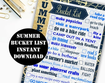 Summer Bucket List Printable Digital Download // Erin Condren Printable / Plum Paper Printable / Planner Insert Digital Download 00144