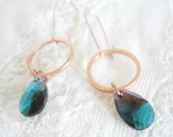 Swarovski crystal earrings, earrings turquoise shimmering crystal, eardrops rosegold-coloured, turquoise, crystal earrings