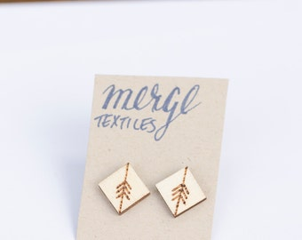 Fletch Pattern – Wood Burned Earring Studs