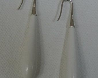 White stone drop Earrings