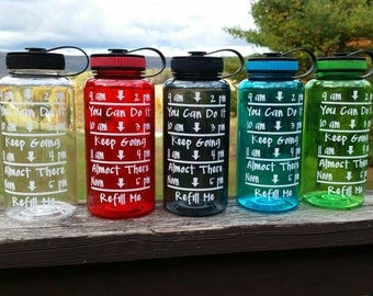 Motivational Water Bottle - 34 oz - Water Bottle - FREE SHIPPING - Water Bottle with Times - Custom Water Bottle - Personalized Water Bottle