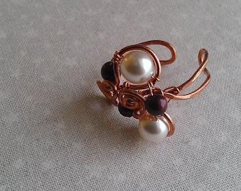 copper ring , swarovsky pearl ring , handmade ring , handmade jewelry