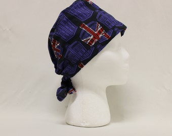 Union Jack TARDIS Doctor Who Police Box Surgical Dentist Scrub Cap Chemo Hat