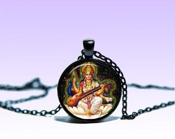 Saraswati Amulet Om Pendant Indian deity NECKLACE Jewelery Amulet Charm Pendant for Him or Her