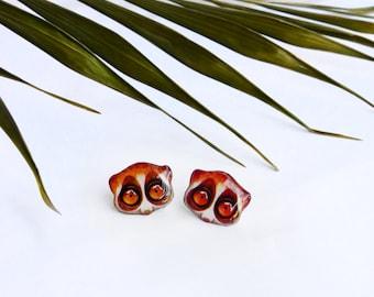 Lemur studs / Slow loris studs / Lemur earrings / Slow loris jewelry / Lemur jewelry / Funny studs / Lemur gift idea
