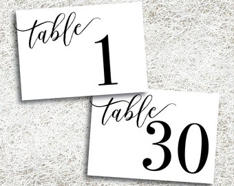 Printable Horizontal Table Numbers 1 - 30 | Instant Download | Black Table Numbers | Wedding | Events | Banquet | Anniversary | Reception