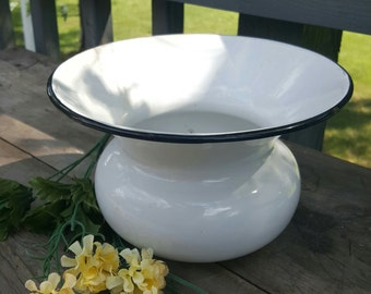 White Enamel Porcelain Spittoon, Bowl, White and Black, Rustic Farmhouse Decor, Antique Spittoon, Vintage Enamelware, Outdoor Planter f206