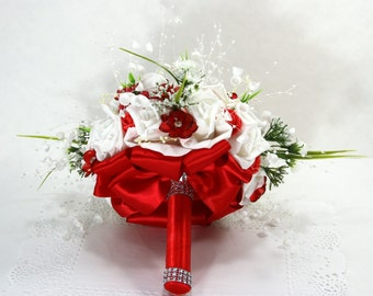 Red Bridal/Maid of Honor/Bridesmaid Cascading Wedding Bouquet