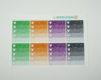 Hallowen Color Ombre Heart Checklist Planner Stickers