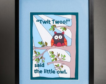 Large Twit Twoo said the little Owl Framed Print