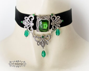 Black Velvet Victorian Gothic Choker with absinth gem-Black Velvet Choker-Gothic Choker With gem- Victorian Gothic Jewelry