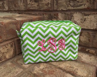 Monogrammed Personalized Cosmetic Makeup Bag - Large