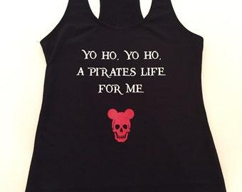 Pirates Of The Caribbean Black Shirt, Tank, Yo Ho A Pirates Life For Me, Disney Inspired Shirt, Skull Shirt, Mickey Skull