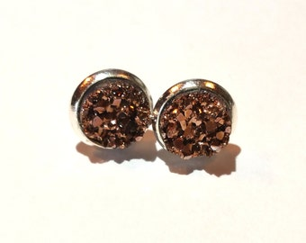 Rose Gold Faux Druzy Earrings - 8mm Small