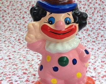 Hand Painted Vintage Clown Bank 1970s