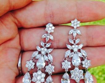 Wedding Earrings Zirconia chandelier earrings Bridal Earrings Vintage earrings Crystal Bridal Earring CZ Flower Earrings Bridal Earrings