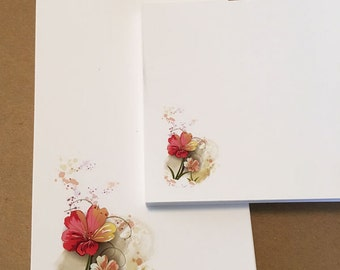 Notepad Set Red Flowers