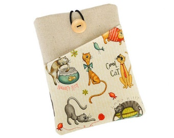 eReader case,Kindle cover,Kindle Voyage, Kobo Aura cover,Kobo case,Kindle Paperwhite,Fire HD, Nook cover,Oasis case,Kobo Glo,Cat,Cute,Fabric