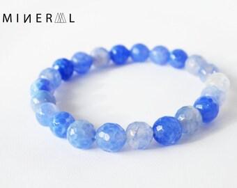 Blue Faceted Agate beaded Bracelet, Beaded Bracelet