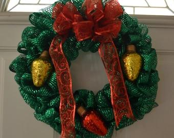 Green Christmas Deco mesh Wreath with Glitter Bulbs