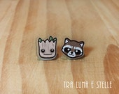 Earrings Groot and Rocket Raccoon, Guardians of the Galaxy, Marvel - superheroes earrings, kawaii cute earrings, gift ideas geek, nerd