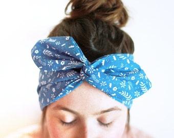 Headband / scarf / headband / with wire / original floral Motif 'Night Liberty'
