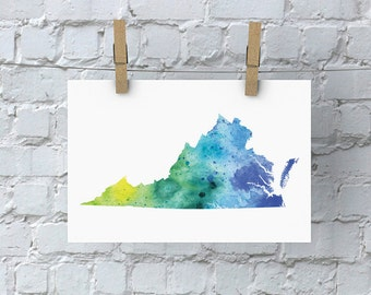 Virginia Watercolor Map - Giclée Print of Hand Painted Original Art - 5 Colors to Choose From