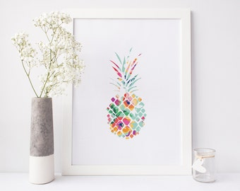 Pineapple Print, floral print, pineapple wall art, summer print, ananas print, nursery print, office print, printable art, print download
