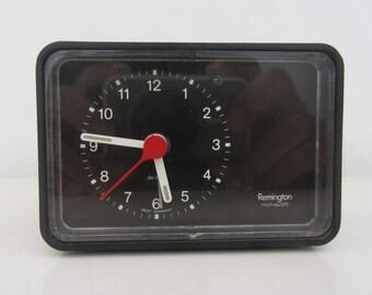REMINGTON Multi Quartz - Plastic Black Alarm Clock - Made in West Germany - 1970s