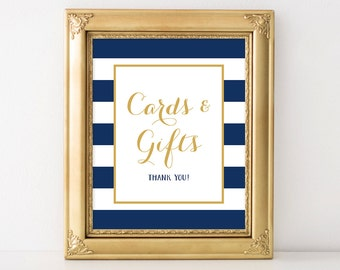 PRINTABLE Cards and Gifts Wedding Sign, 8x10 and 5x7 Wedding Gift Table Digital Print, Nautical Blue & White Wedding Decor, INSTANT DOWNLOAD