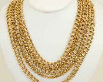 Napier Multi Chain Gold Plated Vintage Necklace 19 inches