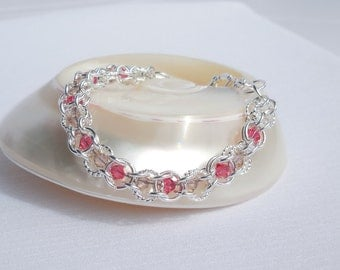 Swarovski crystal and silver chainmaille bracelet