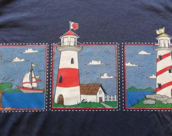 vintage lighthouse t-shirt / lighthouses / vintage 1980s women's shirt with shoulder pads