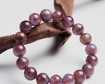 Natural 11mm SUPER SEVEN 7 Minerals MELODY Stone High Grade Gemstones, Stretchy Purple, Red, Orange Bracelet!